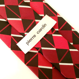 Pierre Cardin Red Black Geometric Polyester TIe